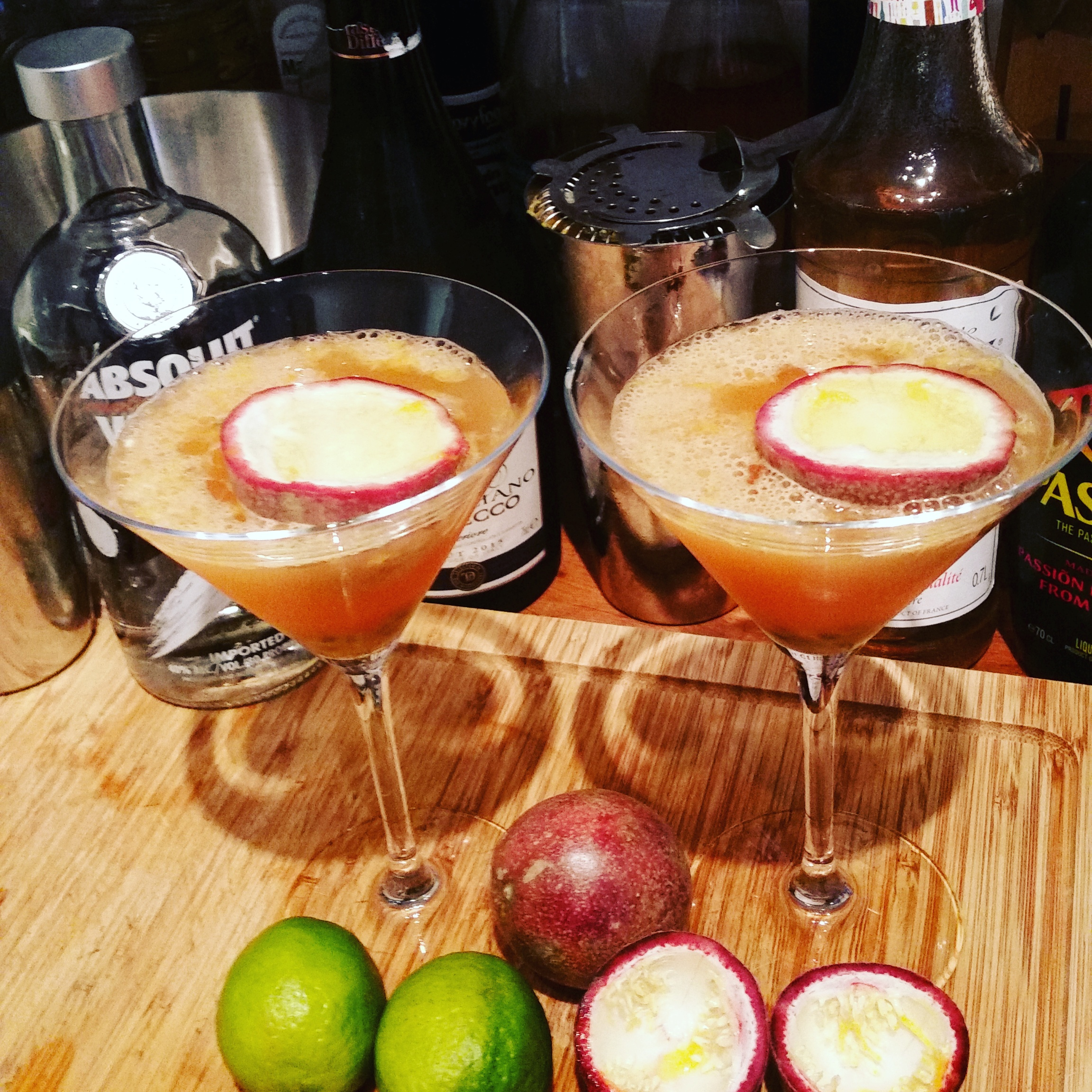 Pornstar Martini in a daiquiri glass with passionfruit garnish